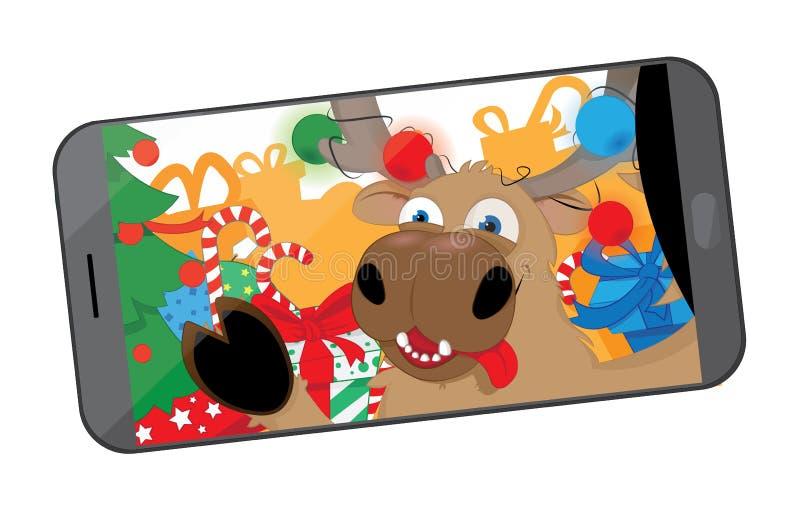 Смешной северный олень принимая selfie в мастерской ` s Санты бесплатная иллюстрация