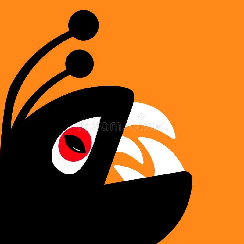 Смешной силуэт головы гада изверга с глазом красного дьявола, большим зубом клыка Милый персонаж из мультфильма черный цвет Собра иллюстрация вектора