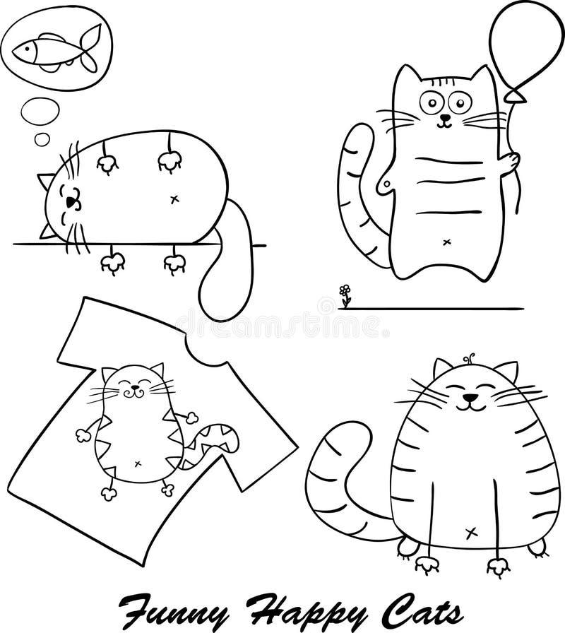 Смешной силуэт котов шаржа для вашего дизайна иллюстрация вектора
