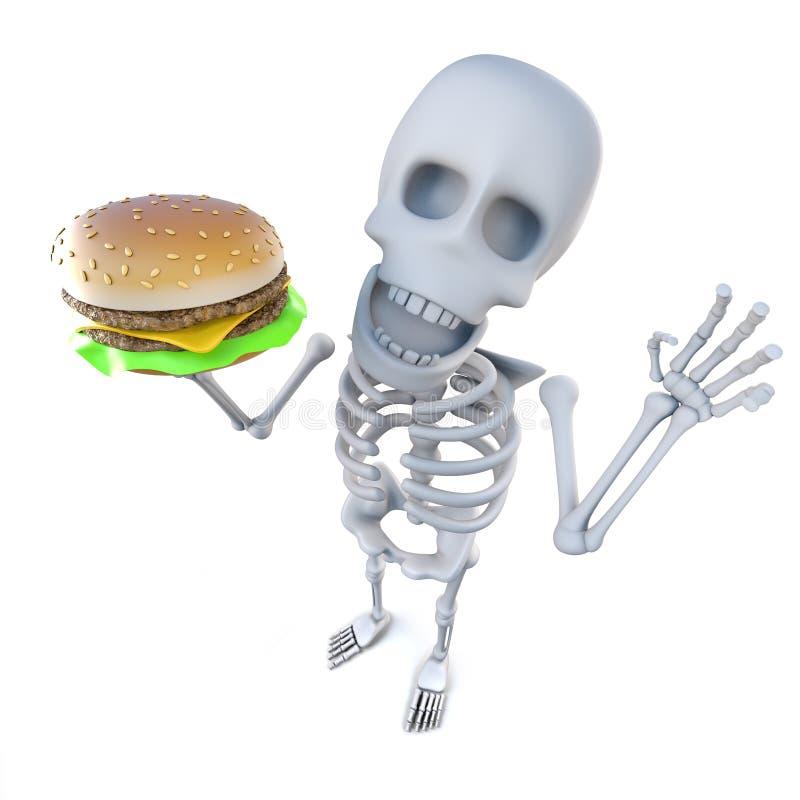 смешной скелет шаржа 3d держа cheeseburger иллюстрация штока