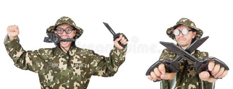 Смешной солдат изолированный на белизне стоковые изображения rf