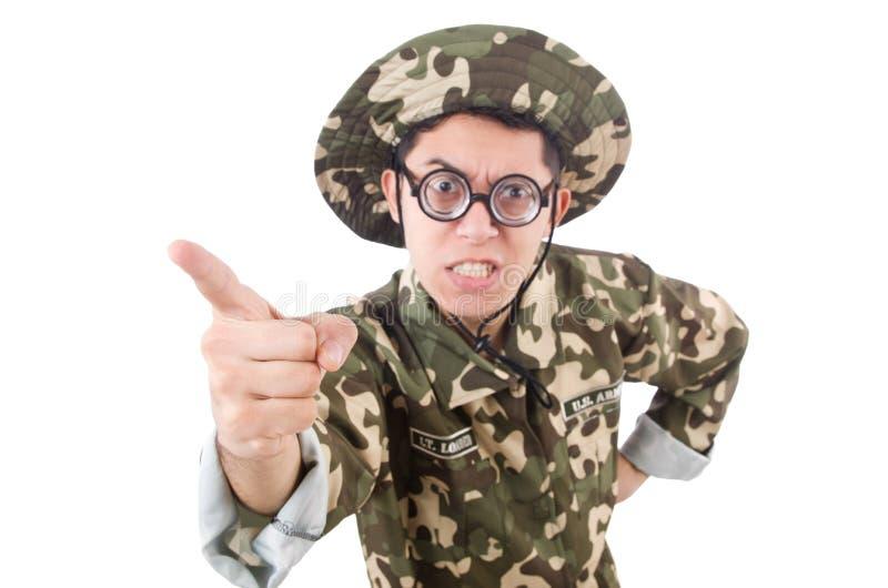 Смешной солдат в войсках стоковое фото