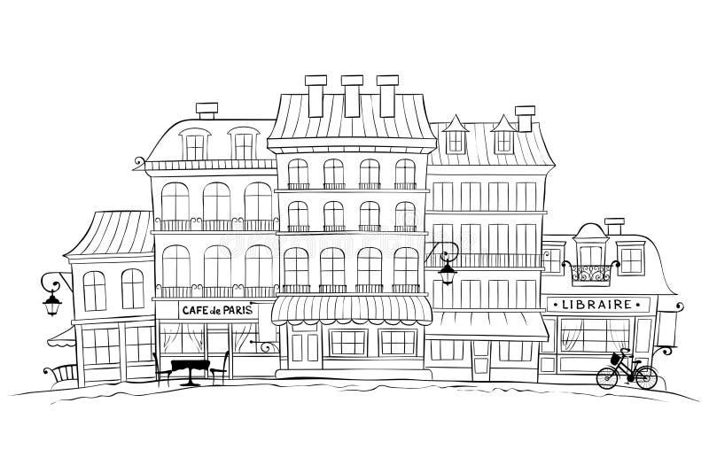Смешной старый город -- Париж бесплатная иллюстрация