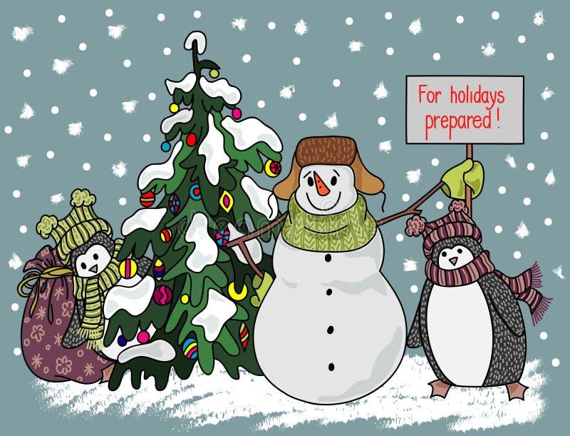 Смешной стиль шаржа снеговика и пингвина нарисованный рукой около рождественской елки ждать натиск праздника иллюстрация штока