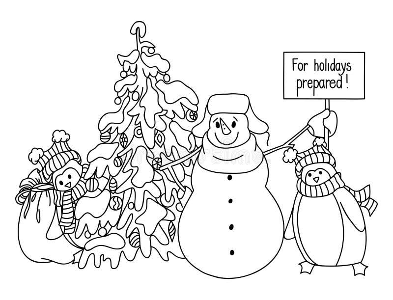 Смешной стиль шаржа снеговика и пингвина нарисованный рукой около рождественской елки ждать натиск праздника бесплатная иллюстрация