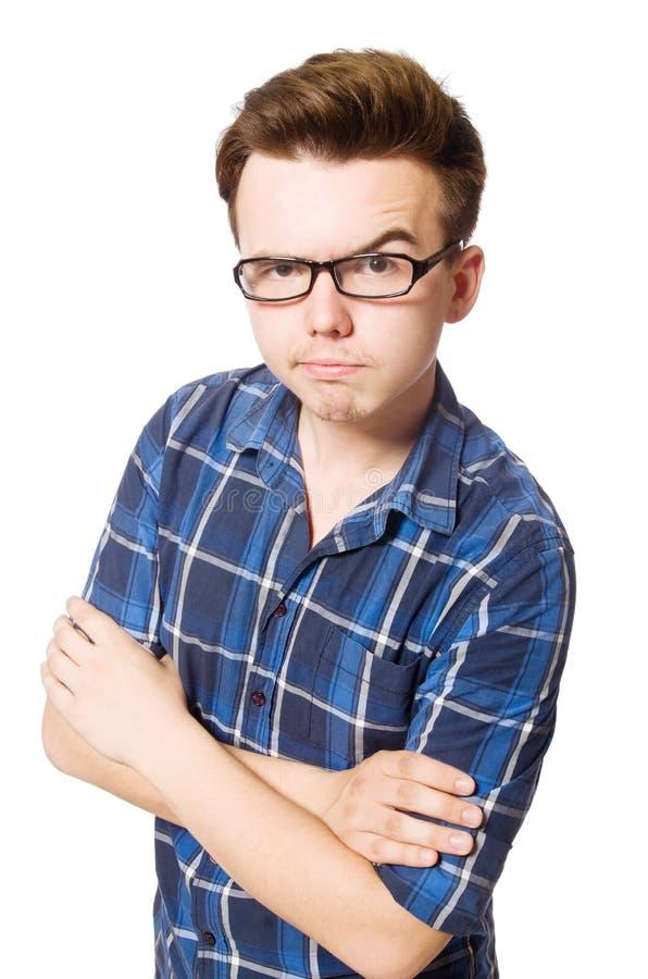 Смешной студент изолированный на белизне стоковая фотография rf