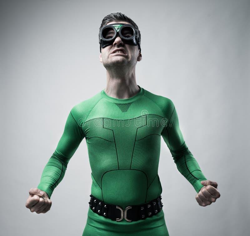 Смешной супергерой спутывая стоковое фото rf