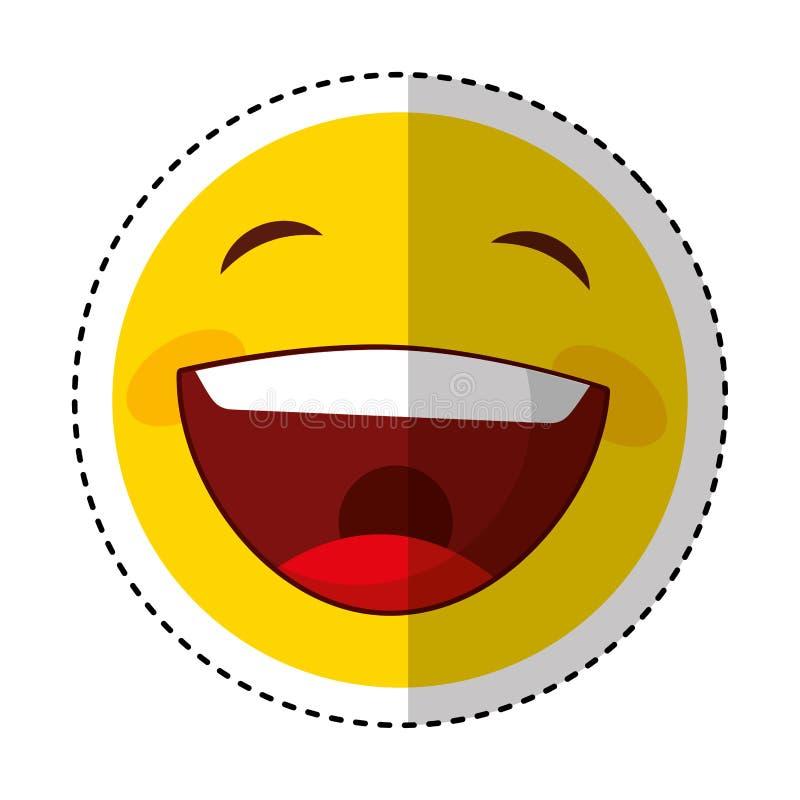 Смешной счастливый значок смайлика иллюстрация вектора