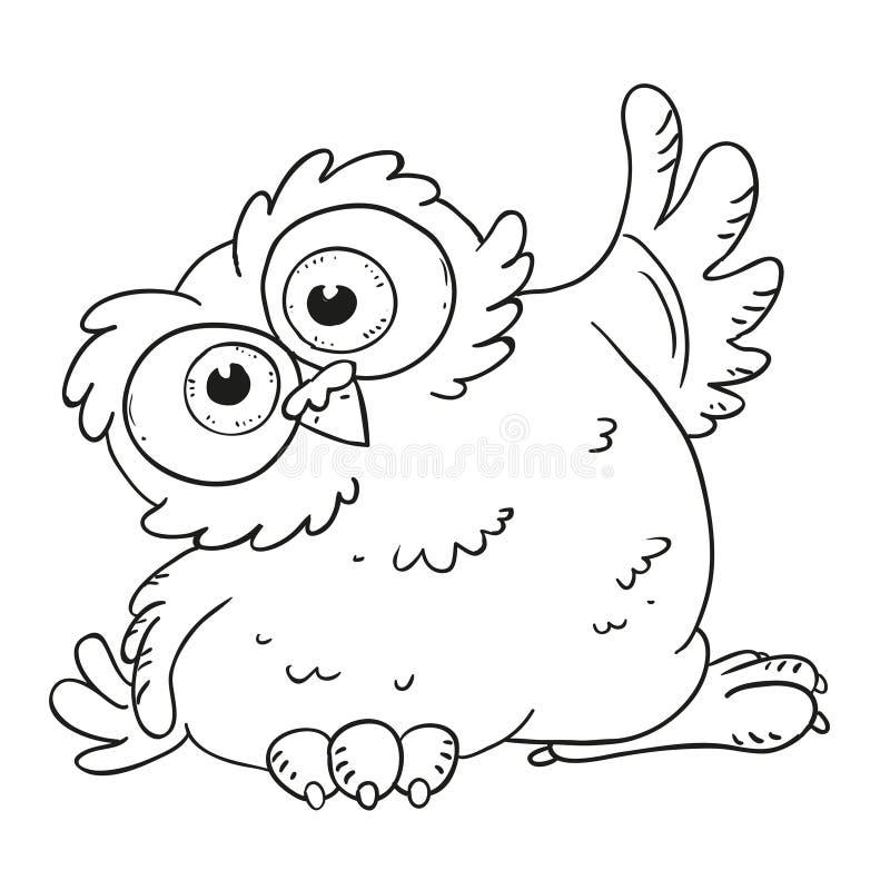 Смешной сыч персонажа из мультфильма Удивленный сыч с большими глазами Книжка-раскраска вектора Контур на белой предпосылке иллюстрация вектора