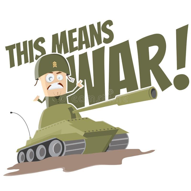 Смешной танк шаржа иллюстрация вектора