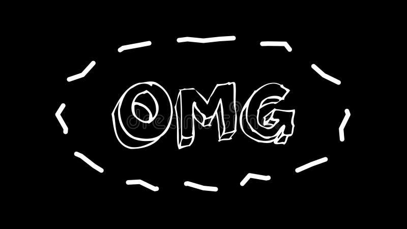 Смешной текст OMG с рамкой как черви, о мой бог, 3d представить предпосылку, компьютер произвел фон для смешное творческого иллюстрация вектора