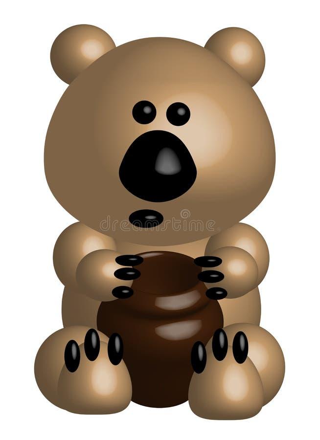 Смешной толстый медведь с глиняным горшком, 3d бесплатная иллюстрация
