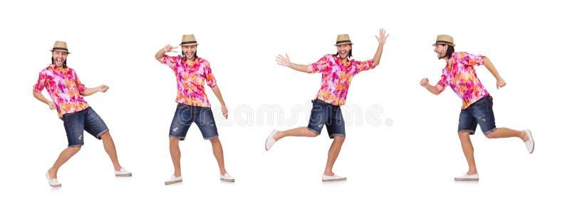 Смешной турист изолированный на белизне стоковое фото