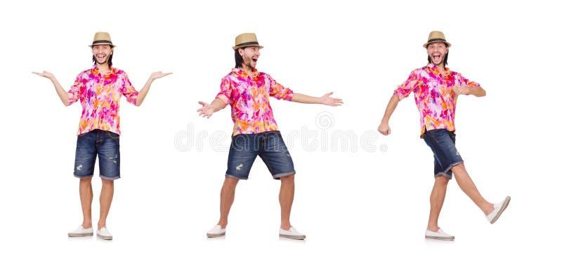 Смешной турист изолированный на белизне стоковое фото rf
