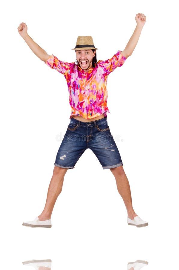 Смешной турист изолированный на белизне стоковая фотография