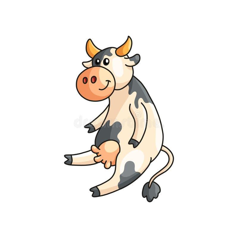 Смешной усмехаться запятнал усаживание и слушать коровы изолированные на белизне бесплатная иллюстрация