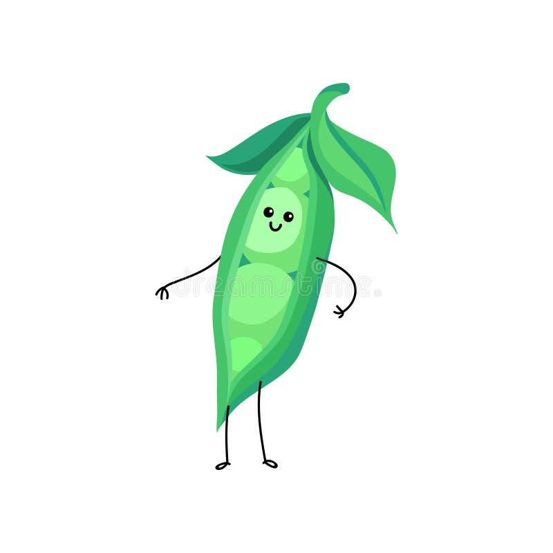 Смешной усмехаясь стручок иллюстрации вектора персонажа из мультфильма зеленых горохов иллюстрация вектора