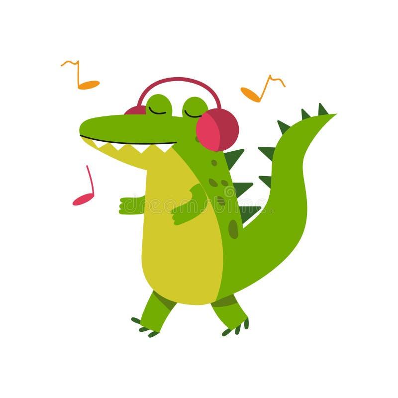 Смешной характер крокодила шаржа в музыке наушников слушая и идя иллюстрации вектора иллюстрация вектора