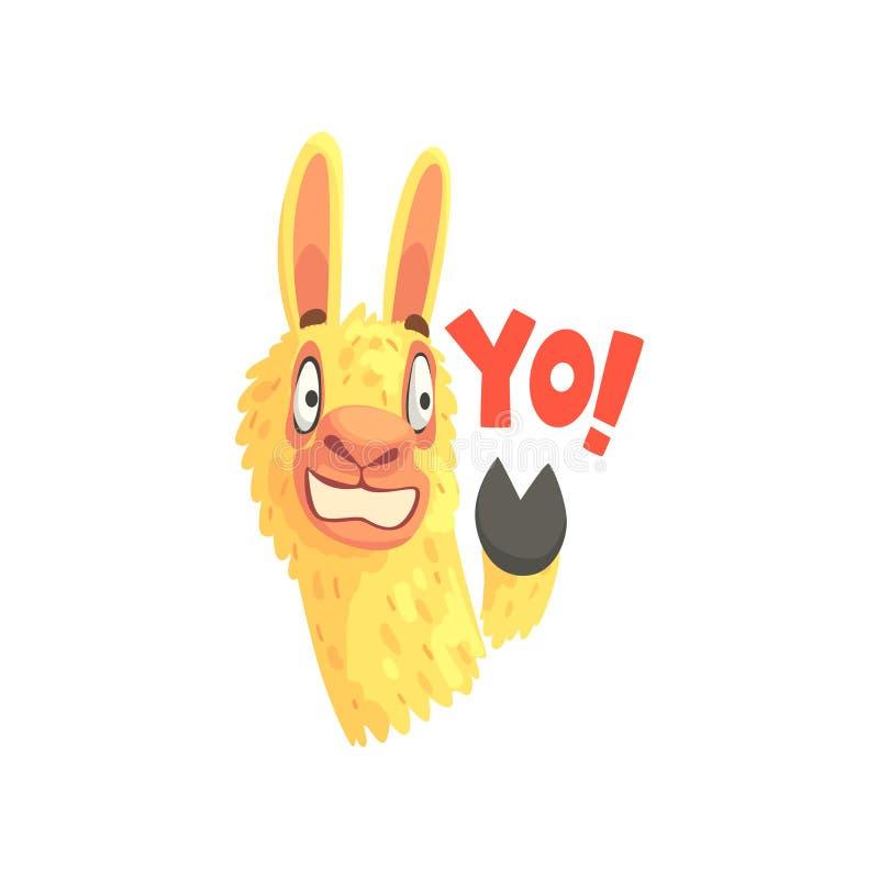Смешной характер ламы развевая свое копыто говоря Yo, иллюстрацию вектора шаржа милой альпаки животную бесплатная иллюстрация