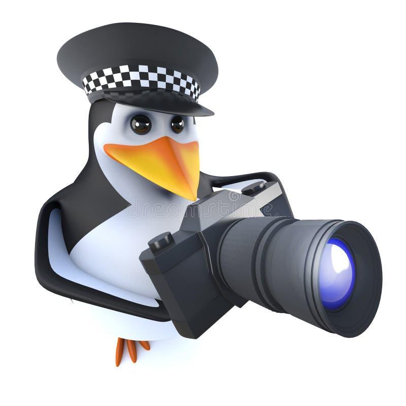 смешной характер пингвина полиции шаржа 3d держа камеру иллюстрация вектора