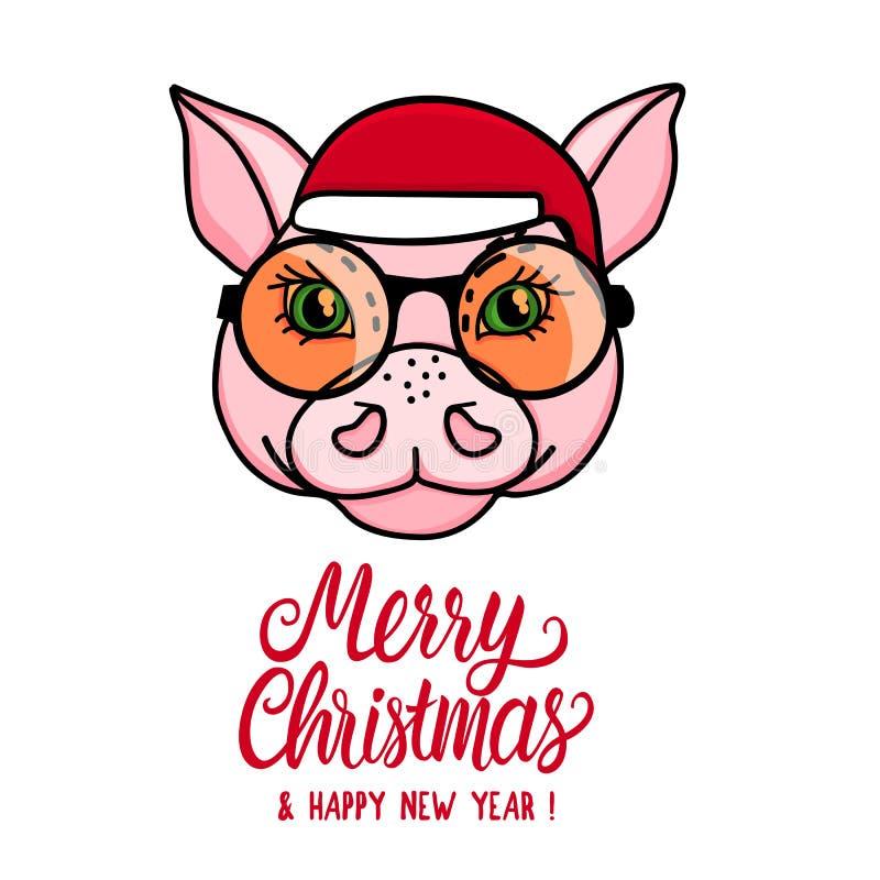 Смешной характер свиньи рождество веселое Животная голова со шляпой santa Иллюстрация вектора изолированная на белизне иллюстрация вектора
