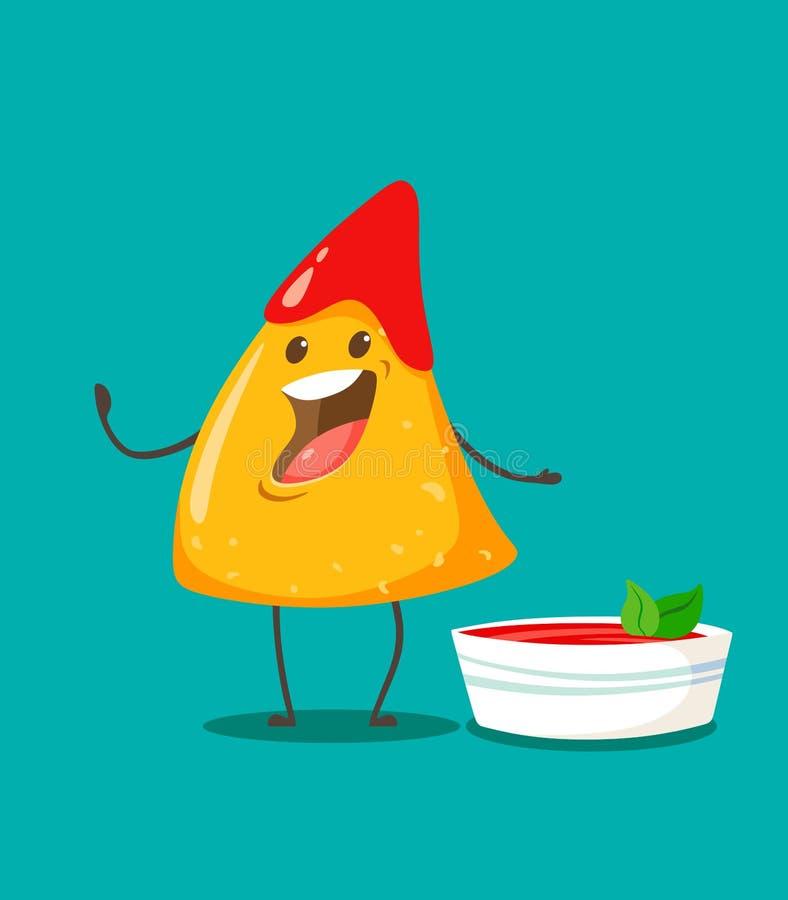 Смешной характер Nachos обломоков с чашкой сальсы томата r иллюстрация штока