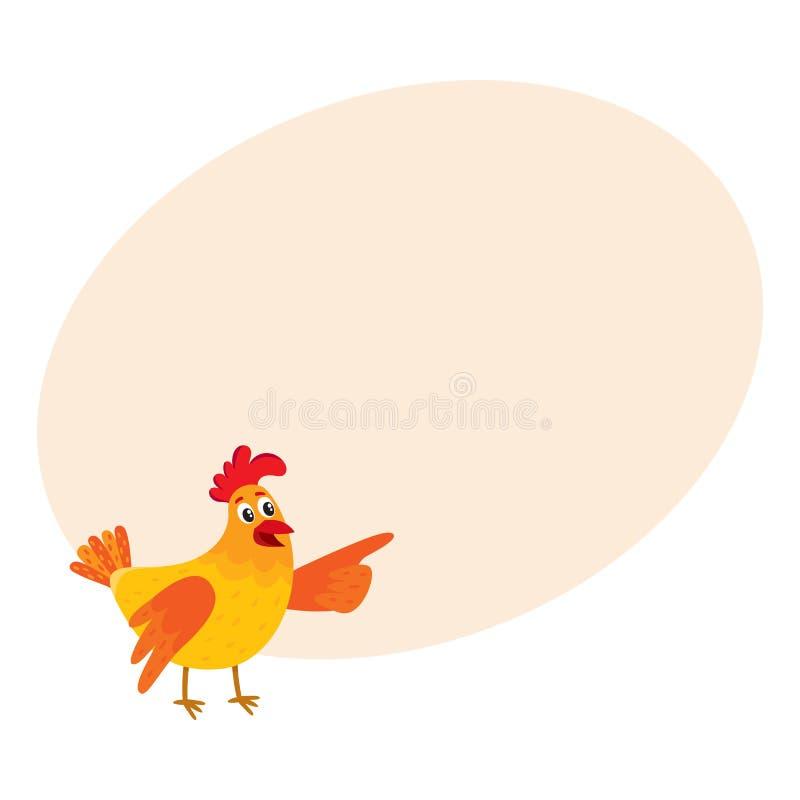 Смешной цыпленок шаржа, курица указывая к что-то с крылом иллюстрация штока