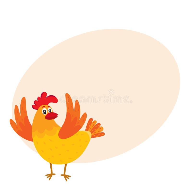 Смешной цыпленок шаржа, курица удивленная или перепрыгнутая от счастья бесплатная иллюстрация