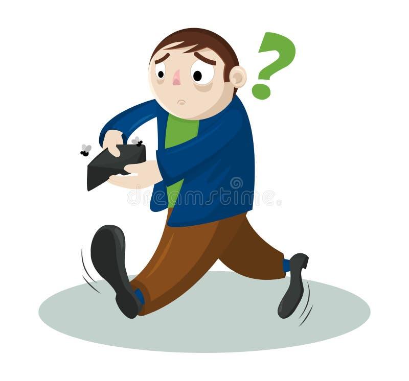 Смешной человек вектора мультфильма без денег Бизнесмен держа пустой бумажник Концепция банкротства бесплатная иллюстрация