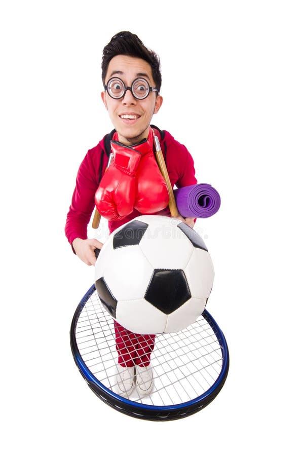 Смешной человек в концепции спорт на белизне стоковое изображение rf