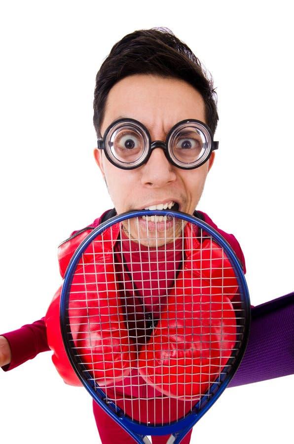 Смешной человек в концепции спорт на белизне стоковые фотографии rf