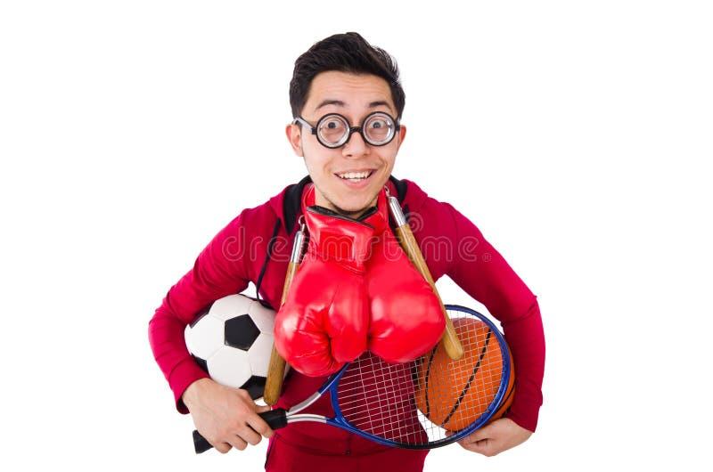 Смешной человек в концепции спорт на белизне стоковая фотография rf