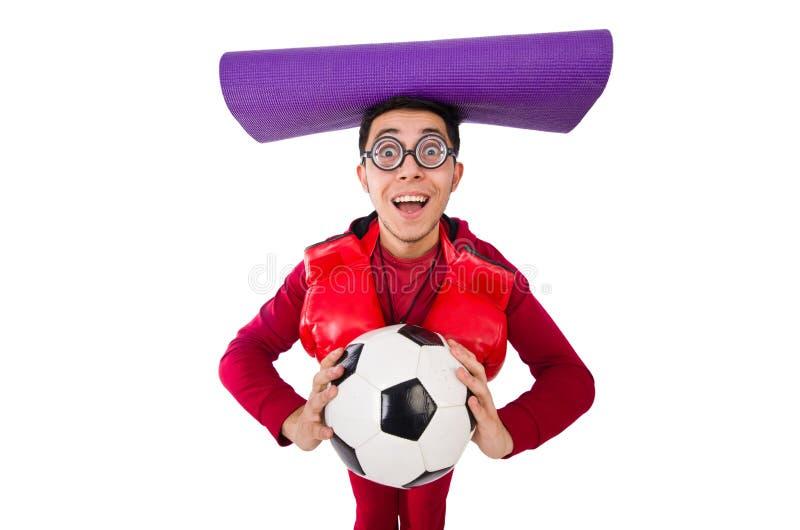 Смешной человек в концепции спорт на белизне стоковое изображение