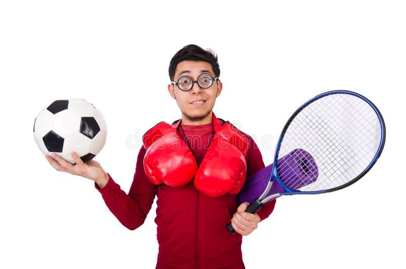 Смешной человек в концепции спорт на белизне стоковое фото