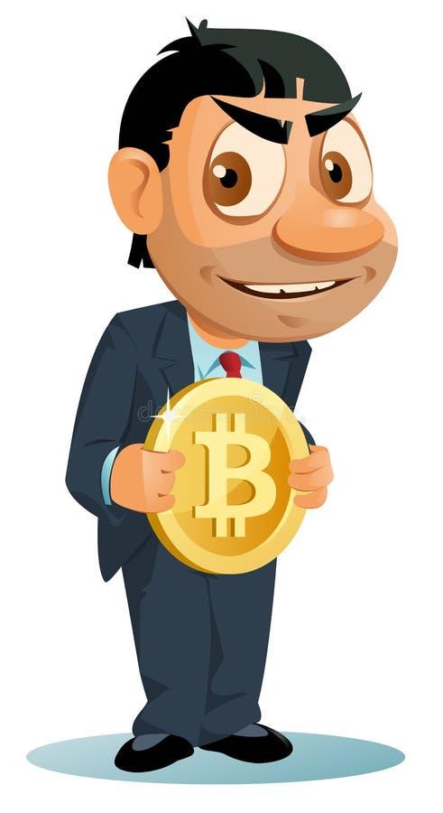 Смешной человек в костюме держит simbol bitcoin иллюстрация штока