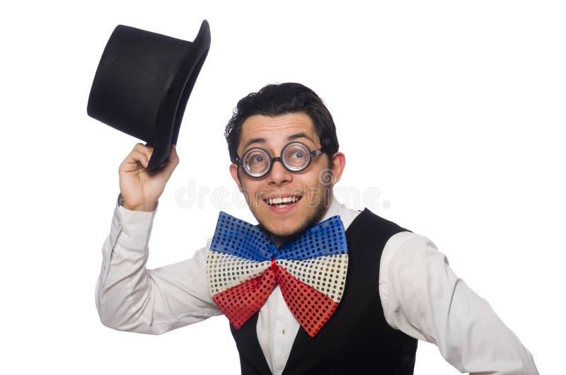 Смешной человек нося гигантскую бабочку стоковое изображение rf