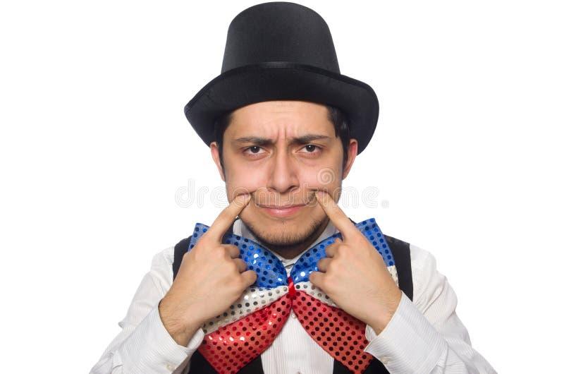 Смешной человек нося гигантскую бабочку стоковые фото