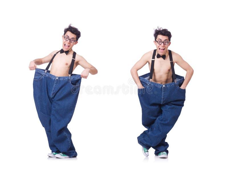 Смешной человек с брюками изолированными на белизне стоковое фото rf
