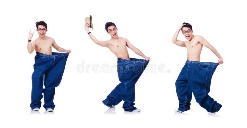 Смешной человек с брюками изолированными на белизне стоковое изображение