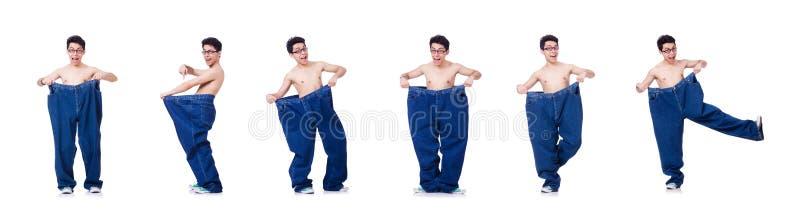 Смешной человек с брюками изолированными на белизне стоковые изображения rf