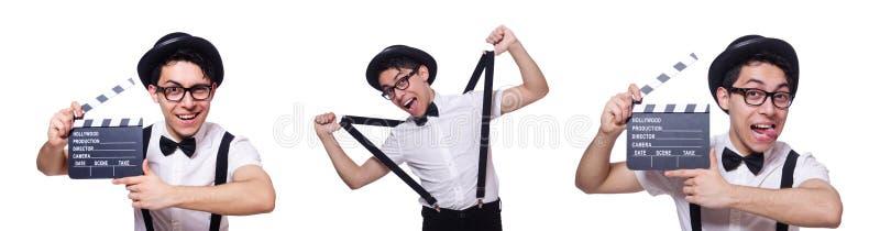 Смешной человек с доской кино стоковая фотография
