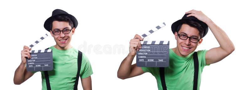 Смешной человек с доской кино стоковые изображения