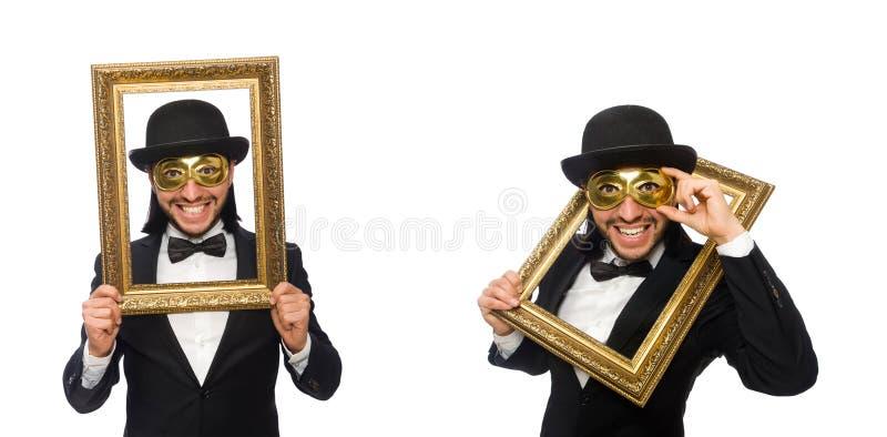 Смешной человек с картинной рамкой на белизне стоковая фотография