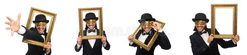 Смешной человек с картинной рамкой на белизне стоковая фотография rf