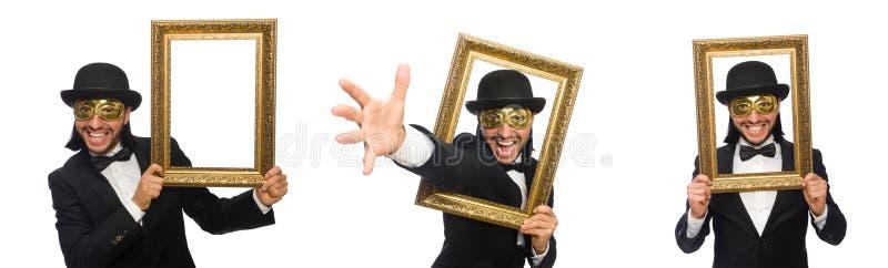 Смешной человек с картинной рамкой на белизне стоковые фото