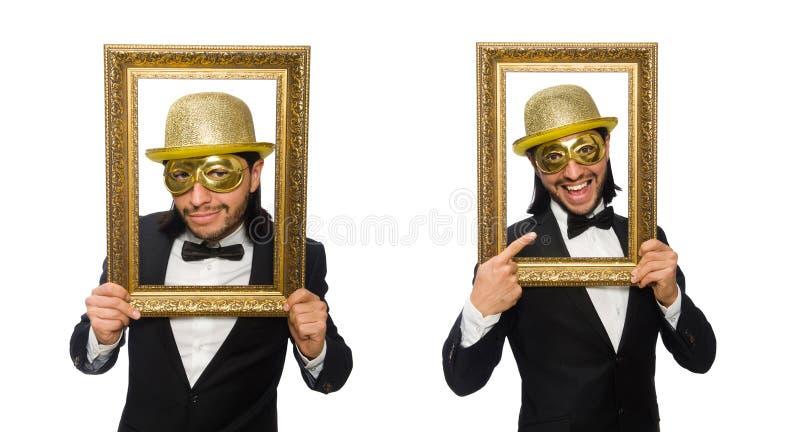 Смешной человек с картинной рамкой на белизне стоковые изображения