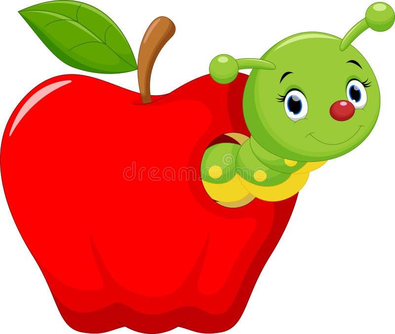 Смешной червь шаржа в яблоке иллюстрация штока