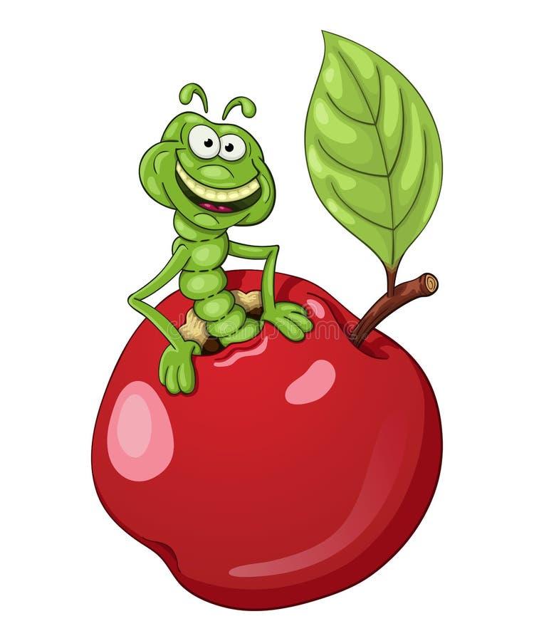 Смешной червь шаржа в яблоке бесплатная иллюстрация