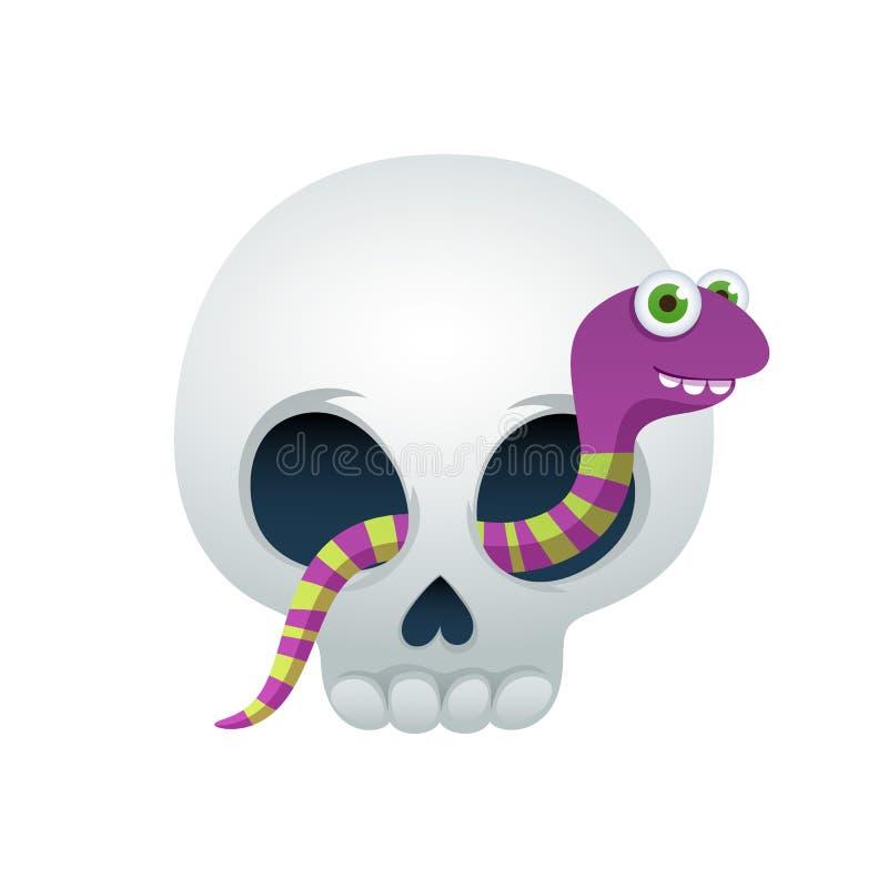 Смешной череп с милой иллюстрацией вектора червя бесплатная иллюстрация