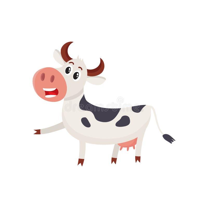 Смешной черно-белый запятнанный характер коровы указывая к что-то иллюстрация штока